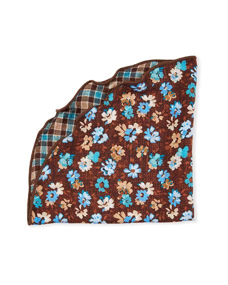 Edward Armah Packard Reversible Floral/Check Pocket Circle, Brown
