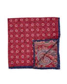 Edward Armah Reversible Floral/Paisley Printed Silk Pocket