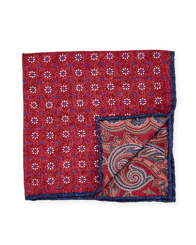 Reversible Floral/Paisley Printed Silk Pocket Square, Red
