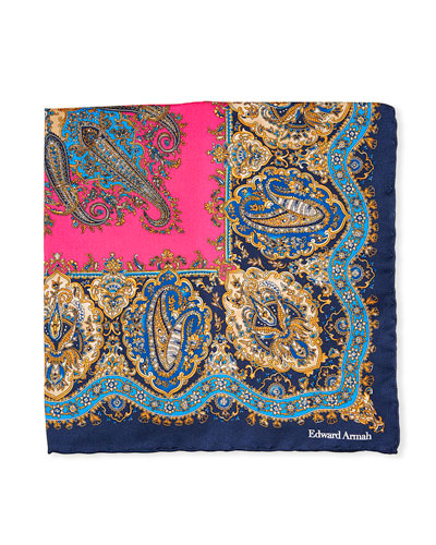 Paisley Printed Silk Pocket Square