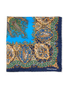 Edward Armah Paisley Printed Silk Pocket Square