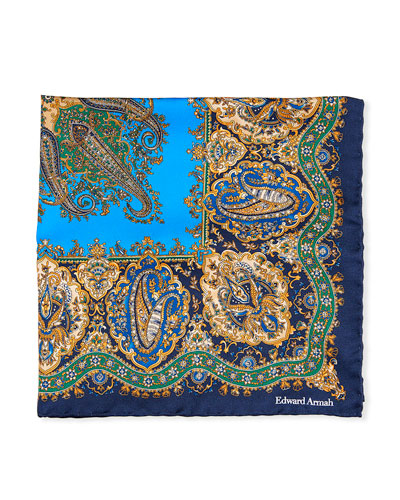 Paisley Printed Silk Pocket Square