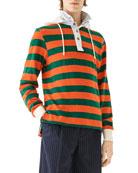 Loewe Men's Striped Hooded Polo Shirt
