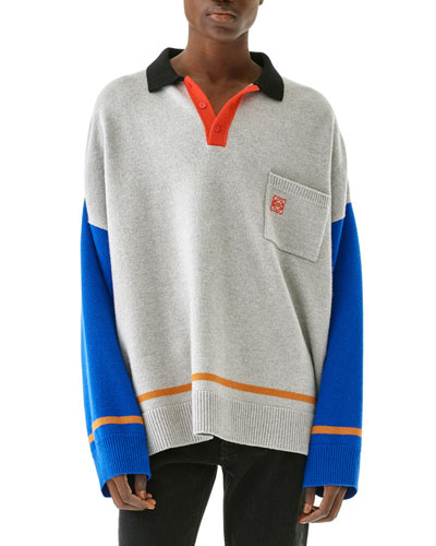 Men's Oversized Knit Polo Sweater