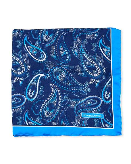 Edward Armah Small-Paisley Printed Silk Pocket Square