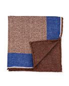 Edward Armah Reversible Chevron Silk Pocket Square, Brown