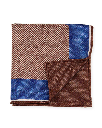 Reversible Chevron Silk Pocket Square, Brown