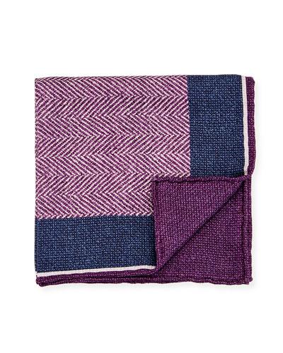 Reversible Chevron Silk Pocket Square, Purple