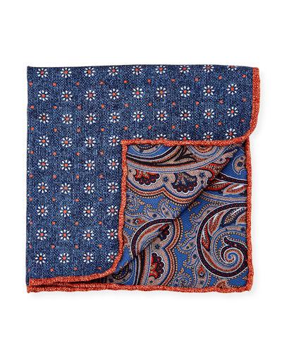 Reversible Floral/Paisley Printed Silk Pocket Square, Navy