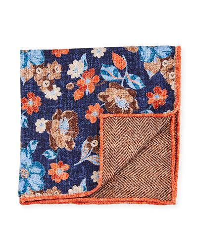 Reversible Floral/Chevron Printed Silk Pocket Square, Navy
