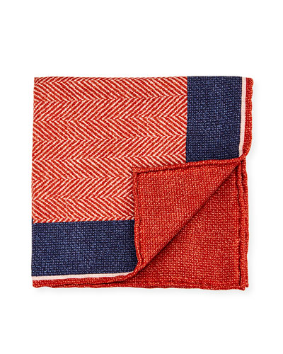 Reversible Chevron Silk Pocket Square, Orange