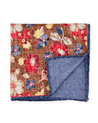 Edward Armah Reversible Floral/Chevron Printed Silk Pocket