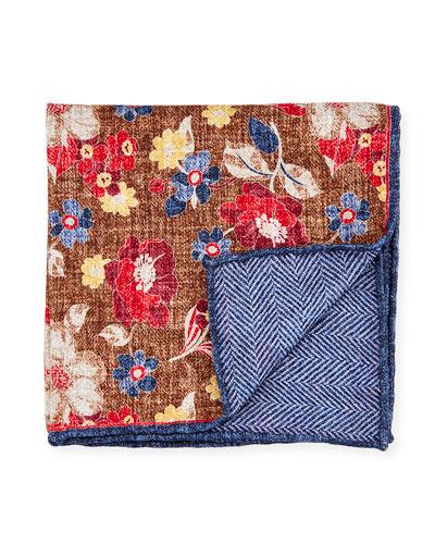 Reversible Floral/Chevron Printed Silk Pocket Square, Brown