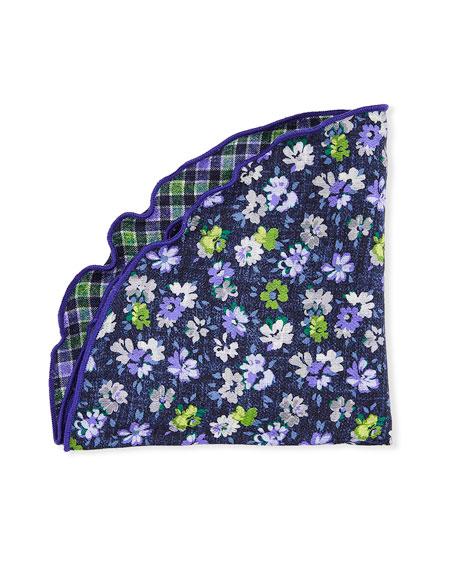 Edward Armah Packard Reversible Floral/Check Pocket Circle, Purple