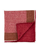 Edward Armah Reversible Chevron Silk Pocket Square, Red