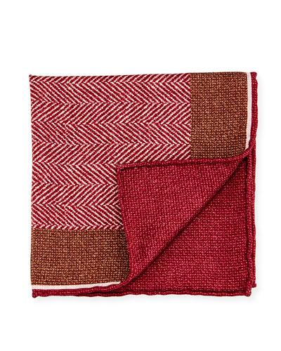 Reversible Chevron Silk Pocket Square, Red