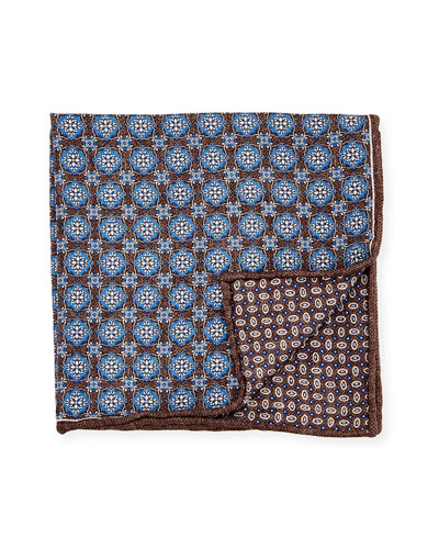 Reversible Medallion Printed Silk Pocket Square, Blue