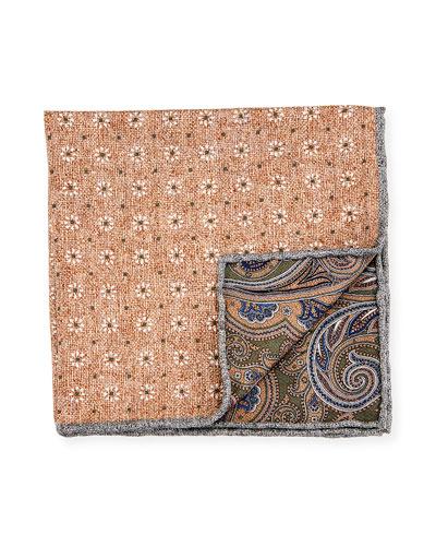 Reversible Floral/Paisley Printed Silk Pocket Square, Tan