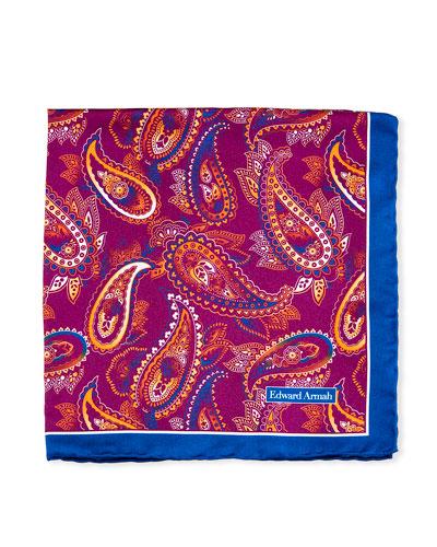 Large-Paisley Printed Silk Pocket Square