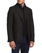Corneliani Men's Quilted Travel Three-Button Jacket