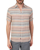 Faherty Men's Double-Cloth Multicolor Striped Shirt