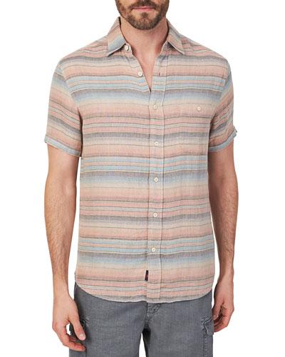 Men's Double-Cloth Multicolor Striped Shirt