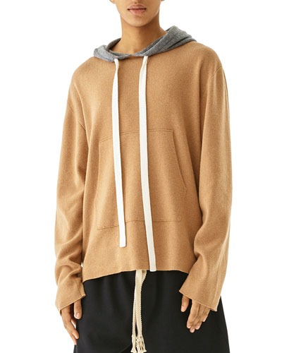 Men's Oversized Cashmere Knit Pullover Hoodie