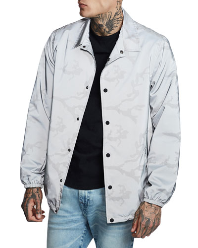 Men's Reflective Camo Lightweight Snap-Front Jacket