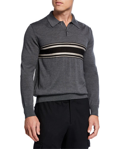 Men's Striped Virgin Wool-Cashmere Polo Shirt