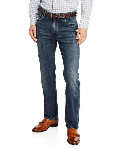 Brioni Men's Dark-Wash Straight-Leg Jeans
