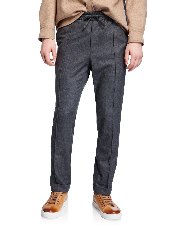 Brioni Pants MEN'S DRAWSTRING FLANNEL PANTS