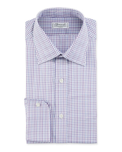 Men's Tonal Tattersall Plaid Cotton Dress Shirt