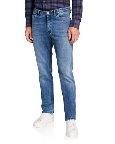 Men's Medium-Wash Straight-Leg Jeans