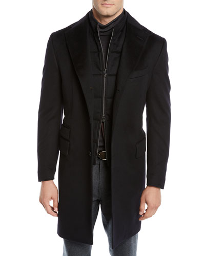 Men's ID Wool Top Coat, Black