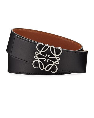 Reversible Silver Anagram-Buckle Belt, Black/Tan