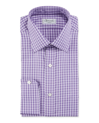 Men's Gingham Plaid Cotton Dress Shirt