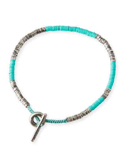 Men's Stacked Bead & Sterling Silver Disc Bracelet, Turquoise