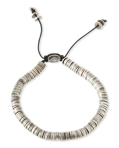 Men's Stacked Carved Oxidized Discs Bracelet