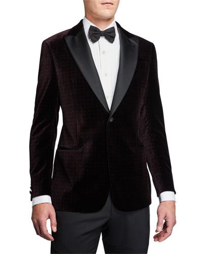 Men's G-Line Geo-Pattern Velvet Dinner Jacket