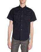 Balenciaga Men's Twill Military Short-Sleeve Sport Shirt