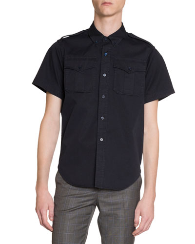 Men's Twill Military Short-Sleeve Sport Shirt