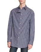 Balenciaga Men's Striped Flap-Detail Sport Shirt