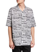 Balenciaga Men's Multi-Logo Typographic Sport Shirt