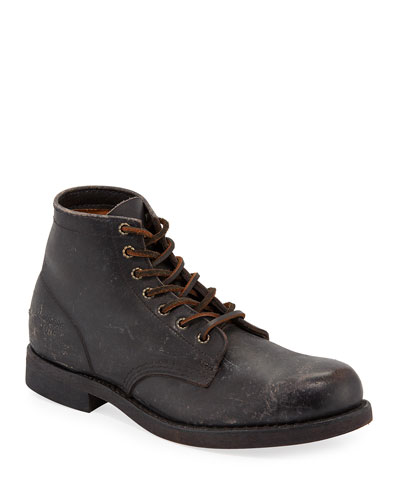Men's Prison Stone-Washed Leather Boots
