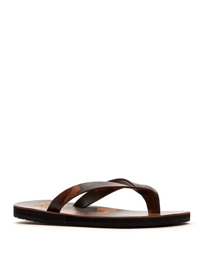 Men's Theo Camouflage Leather Thong Sandals