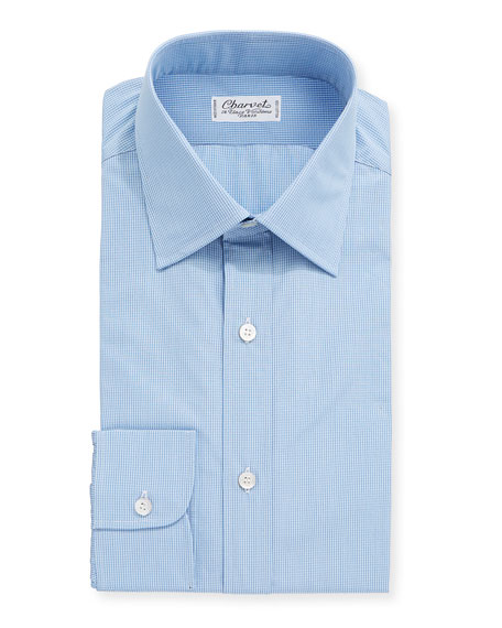 Charvet Men's Mini-Check Cotton Dress Shirt