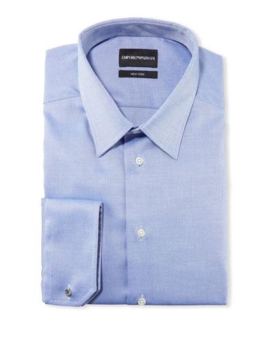 Men's New York Micro-Pattern Dress Shirt, Medium Blue