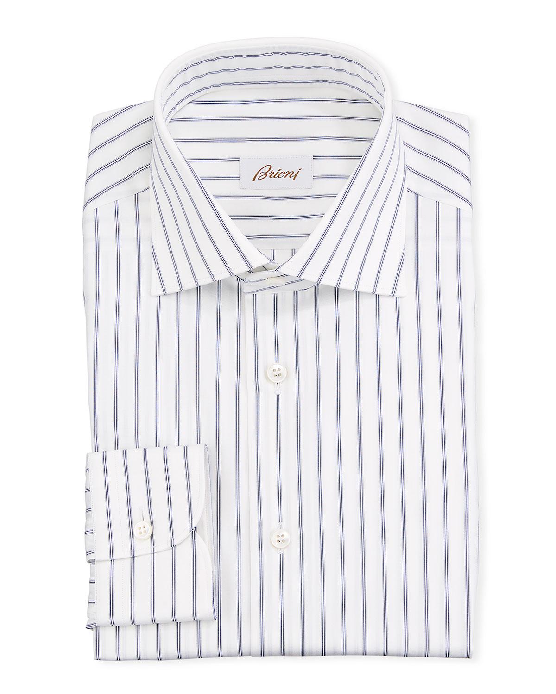 Brioni Dresses MEN'S STRIPED COTTON DRESS SHIRT