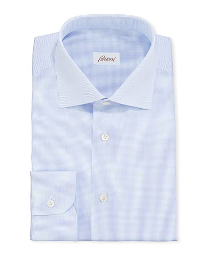 Men's Micro-Check Cotton Dress Shirt