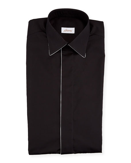 Brioni Men's Formal Shirt w/ Contrast Piping